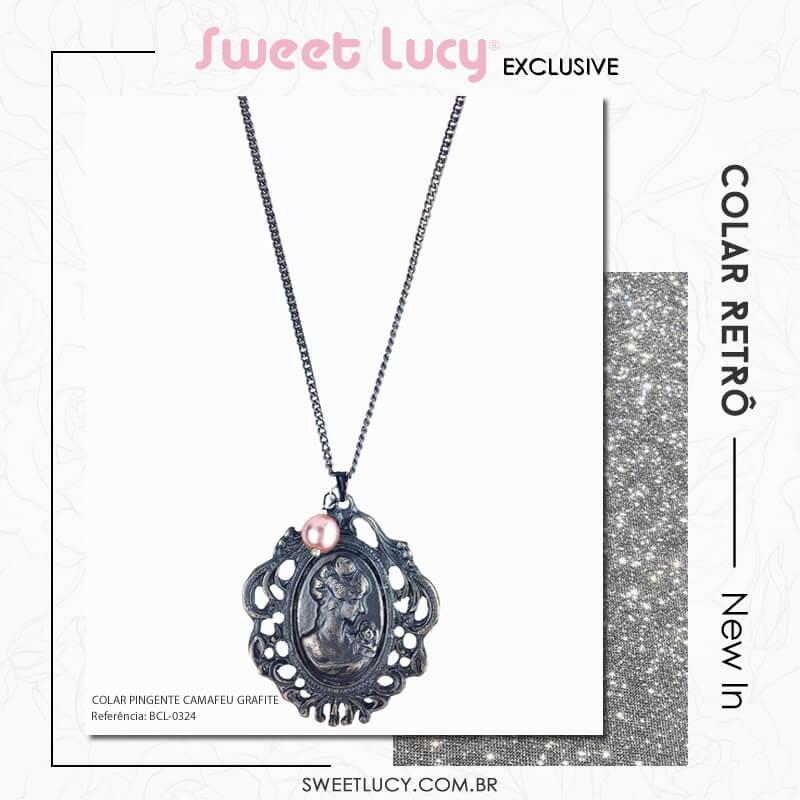 tipos de colares colar camafeu bijuteria retro vintage sweet-lucy