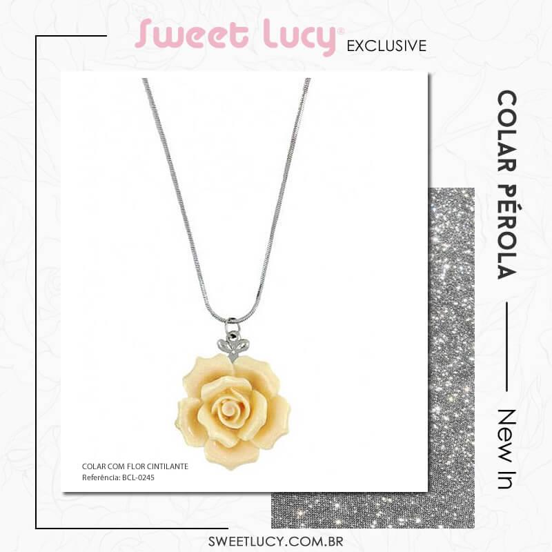 tipos de colares colar com pingente flor sweet lucy bijuterias